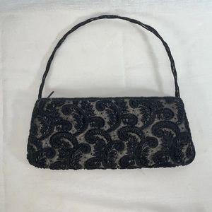 Black Beaded Paisley Embroidered Purse